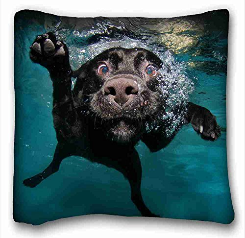 Soft Pillow Case Cover ( Animal Dog Dog Water Underwater Black Labrador ) Custom Cotton & Polyester Soft Rectangle Pillow Case Cover 16x16 inches (One Side) suitable for Full-bed PC-Purple-2699