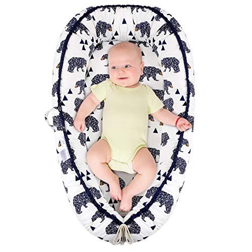 Baby Lounger Baby Nest Sleeping Bed for Baby, Super Soft Breathable Fiberfill Portable Adjustable Newborn Lounger for Crib Bassinet, Essentials for Newborn Shower Gift (New Bear)