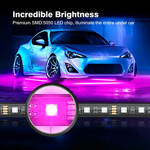 MICTUNING Car Underglow Lights, 4Pcs Bluetooth Lighting Kit with APP and Remote Dual Control, Waterproof 12V Exterior Underbody Neon LED Light Strips for All Cars,16 Million Colors, Music DIY Mode