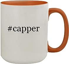 #capper - 15oz Hashtag Colored Inner & Handle Ceramic Coffee Mug, Orange