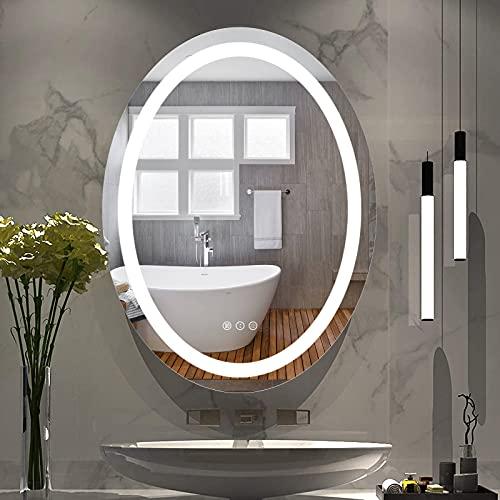 Amorho Specchio da Bagno con Controluce LED,Ovale 700x900mm Specchio da Parete,con Interruttore...