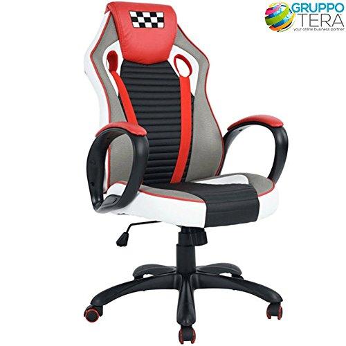 BAKAJI Sedia da Ufficio Scrivania Poltrona Direzionale Sportiva Girevole con Ruote Racing Gaming Ergonomica Colore Rosso