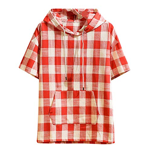 Kyleon - Camisa de manga corta para hombre, algodón y lino, con capucha para playa, verano, casual, suelta, lisa, para hombre, 1-rojo, XX-Large