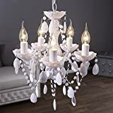 DESIGN LAMPADARIO 'POMP' | bianco, acrilico, 5 lumi, Ø 40 cm | stile retrò