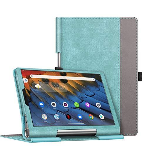 Fintie Folio Funda Compatible con Lenovo Yoga Smart Tab - Tablet de 10.1' (YT-X705F) Slim Fit Carcasa Protectora de Cuero Sintético con Banda Elástica para Stylus, Verde Menta