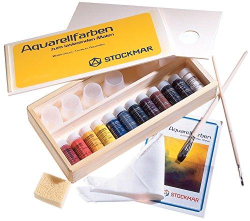 Stockmar Aquarellfarbe 20 ml, Künstler-Sortiment 12 Farben im Holzkasten, mit Pinsel und Zubehör