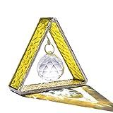 H&D Stehende Glasmalerei Pyramide Sonnenfänger mit 30mm Kristallkugelprisma,Hängendes Fenster Ornament