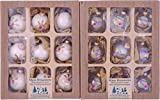 Clear Iridized/Porcelain White 5,7cm Balls with Embroidered