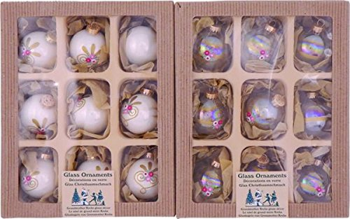 Clear Iridized / Porcelain White 5,7cm Balls with Embroidered Rose / Solid Assortment