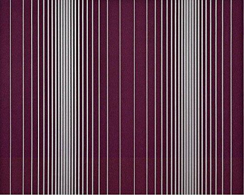 Streifen Tapete XXL Vliestapete EDEM 934-35 Hochwertige heißgeprägte Struktur Metallic Effekt aubergine lila violett silber platin metallic 10,65 m2