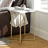 Walker Edison Modern Square Side End Accent Table Living Room Living Room Storage Small End Table, 16 Inch, Marble and Gold