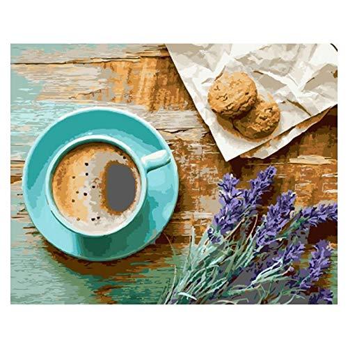 YXBNB Kaffee Cookie Nachmittag Landschaft DIY Digitales Malen nach Zahlen Moderne Wandkunst Ölgemälde Wohnkultur 60x75cm (KEIN Rahmen)