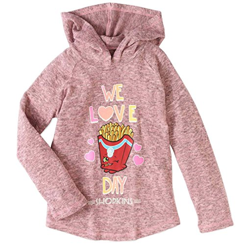 Shopkins Girls' Long Sleeve Hacci Top With Hoodie (6/6x, Fry Day)