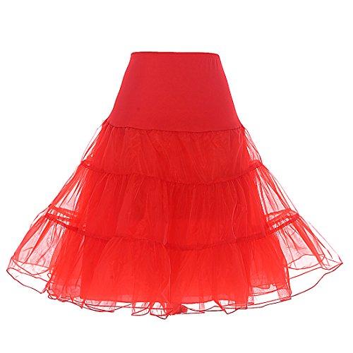 DRESSTELLS Damen Tuell Rock pettycoat Fuer Vintage Kleider Reifrock Unterrock Petticoat Underskirt Crinoline für Rockabilly Kleid Red L