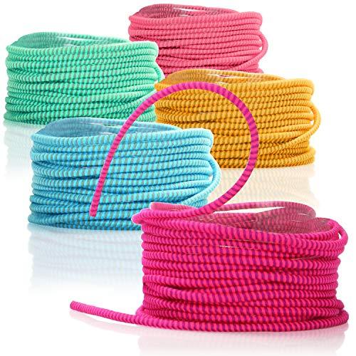 com-four® 5X Gummitwist Band für Kinder - Springseil aus Gummi - Hüpfgummi 3 m - [Farbe variiert] (3 Meter - 05 Stück bunt)