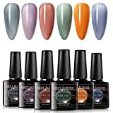 MEET ACROSS Jelly Gel Nail Polish Set 6 Colors Gray Purple Yellow Gel Polish Kit Soak Off UV Led Lamp Base Top Coat Needed with Gifts Box for Nail Art Salon Design Manicure Starter Set