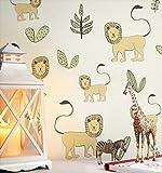 NEWROOM Kindertapete beige Löwen Pflanzen Kinder Vliestapete Vlies Kindertapete Kinderzimmer Babytapete Babyzimmer Natur