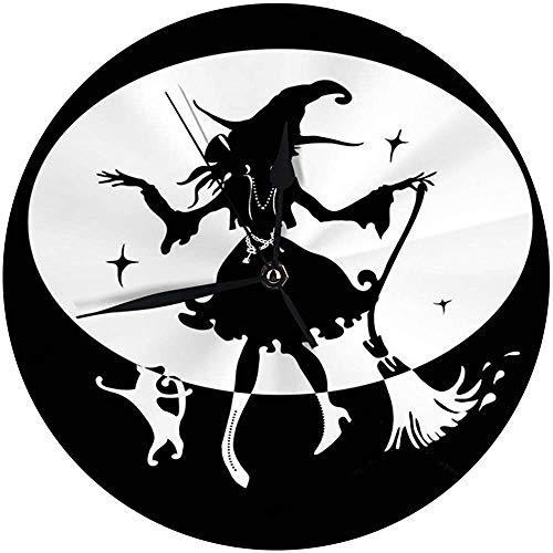 Moderne Wanduhr Große 9,8 'Zoll tanzende Hexe mit Besen und Katze in Big Hat Silhouette Runde Küchenuhr