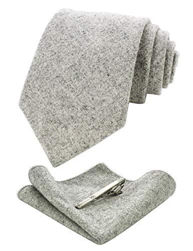 JEMYGINS Kaschmir Wolle Grau Krawatte und Einstecktuch Krawattenklammer Sets für Herren(7)