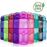 KollyKolla Botella de Agua Deporte, Botellas Sin BPA Tritan Plástico Reutilizables Ecológica con Filtro, Water Bottle para Niños & Adultos, Gimnasio, Yoga, Oficina, Colegio (380ml Mate Morado)