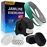 JAWL Jaw Exerciser Kit with Chin Strap - 6 pcs Double Chin Reducer Set Chisell Jawline, Slim & Tone Your Face - 40 & 50 lbs Jawline Exerciser, Face Slimming Strap for Men & Women