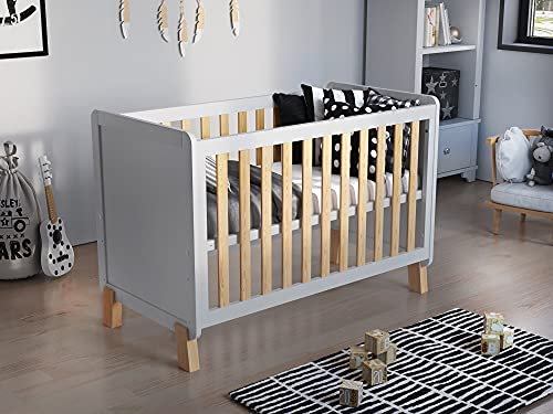 Francis Wooden Baby Cot Bed 120x60cm with FREE Deluxe Aloe Vera Mattress (White & Pine)