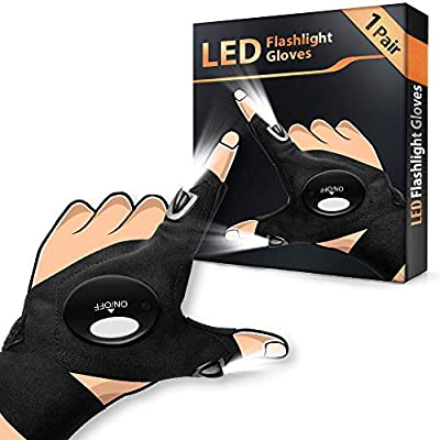 LED Flashlight Gloves 1 Pair, Men's Gifts for Dad Father, Light Gloves for Fishing Camping Repairing, LED Gloves Unique Cool Gadget Tool Gifts for Men Dad Guys Christmas Gifts Stocking Stuffers by HANPURE