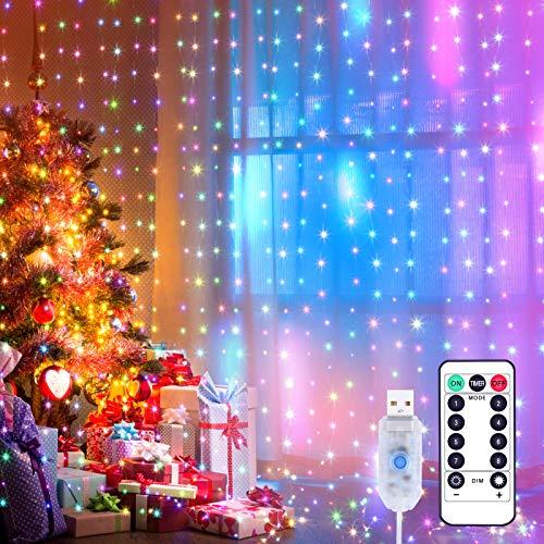 Yizhet Luces de Cadena de Cortina, 3x3m 300 Cortina Luces LED Luz de Cortina USB con Mando a Distancia 8 Modos de Luz, Resistente al aguapara para Decoración Ventana,Navidad,Fiestas (Multicolor)