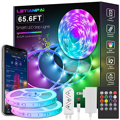 Led Strip Lights, 65.6ft Led Light Strips Music Sync Color Changing RGB Led Strip Built-in Mic,Bluetooth App Control LED Tape Lights with Remote,5050 RGB Rope Light Strips (APP+Remote+Mic+3 Button)