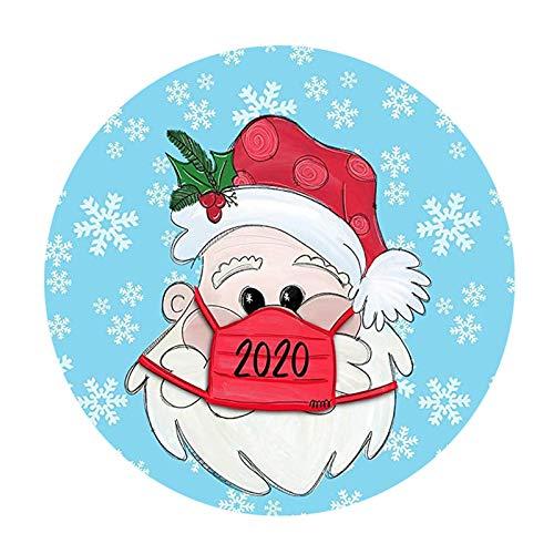 JHD 10 Stück 2020 Neujahr Weihnachten Aufkleber mit Gesichtsmaske personalisierte runde Fenster Aufkleber Frohe Weihnachten Home Decoration