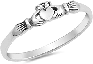 Claddagh Heart Friendship Promise Ring New .925 Sterling Silver Band Sizes 2-10