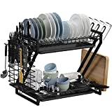 Dish Drying Rack, Loyalfire Stainless Steel 2 Tier Dish Rack with 2 Drainboard...