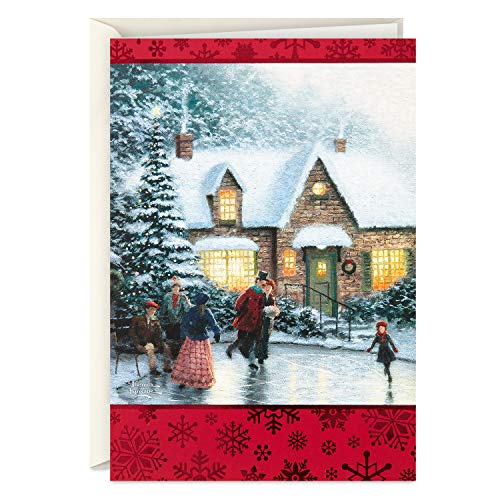 Hallmark Thomas Kinkade Boxed Christmas Cards, Ice Skating (40 Cards and Envelopes)