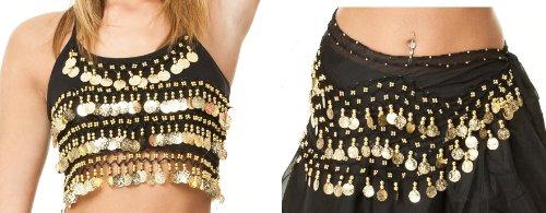 Turkish Emporium Bauchtanz Kostüm top und Schal Set (Schwarz Gold)