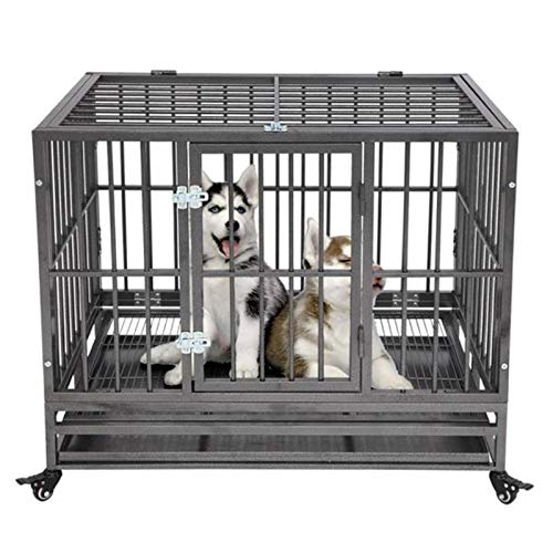 N-B Pet Kennel Heavy Duty Dog Cage Crate Kennel Metal Pet Fence Portable with Tray Black Pet House Kitten Perch