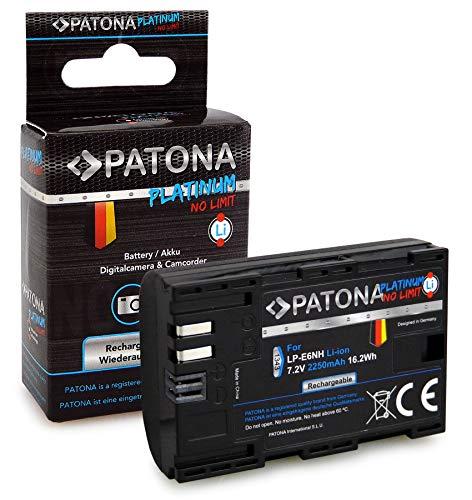 PATONA Platinum Batteria LP-E6NH 2250mAh compatibile con Canon EOS R5, R6, 70D, 80D, 90D, affidabile e con qualità garantita