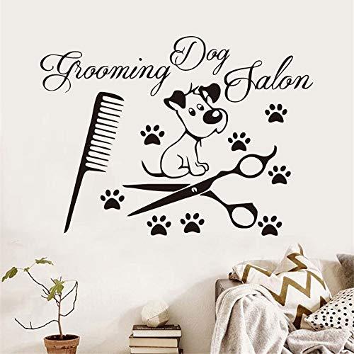 Hond klauw schaar kam vinyl muur stickers voor hond verzorging salon huisdier winkel verwijderbare waterdichte muur art decal huisdecoratie