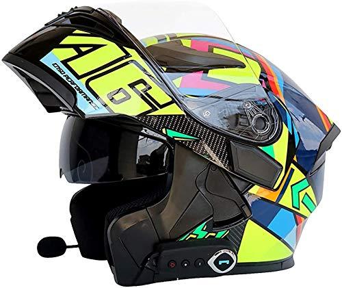 YCRCTC Casco de moto con Bluetooth, modular antivaho, doble visera, casco integral para moto, casco Crash, micrófono para con altavoz incorporado, ECE homologado (color: F, tamaño: M)