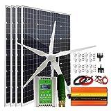 Sistema de viento solar con turbina de viento de 600 W y paneles...
