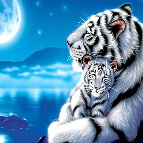 Pintura de diamante de tigre blanco de moda 3D DIY cuadrado tigre blanco imagen de bebé sobre lienzo decoraciones navideñas para el hogar