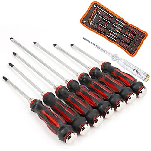 Aischens Juego de Destornilladores de 8 Piezas, 4 plana 3 phillips y 1 bolígrafo de prueba de voltaje con Organizador