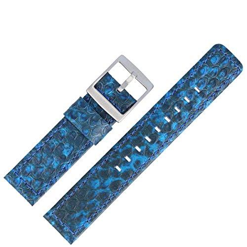 Liebeskind Uhrenarmband 20 mm Leder Blau Schwarz Schlange - Uhrband B_LT-0011-LQ