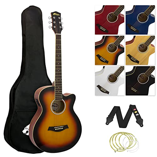 TIGER ACG4-SB Full Size 4/4 Electro Acoustic Guitar for Beginners - with...