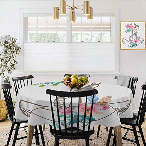Ronde tafelkleed, Timeworn Marine Symbol op verweerde houten planken rustieke nautische thema lichtblauw bruin blauw, tafel Cover Keuken Restaurant Party Decoratie