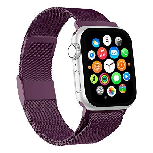 Mediatech Correa de repuesto compatible con Apple Watch, 44 mm, 42 mm, 40 mm, 38 mm, de acero inoxidable, con cierre magnético, compatible con iWatch Series 6/5/4/3/2/1 SE (38 mm/40 mm, lila rosa)