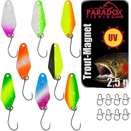 Paradox Fishing Forellen Spoon Set 8 Spoons 2,5g mit 8 Snaps Forellenköder Set zum Forellen Angeln Forellen Blinker UV Spoons Forellen Köder Forellen Set Spoon Forelle - Spoons Forelle