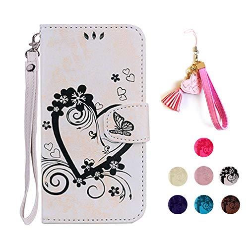 E-Panda kompatibel mit Samsung Galaxy P9 Lite Hülle Weiß Schmetterling Herz Muster Design PU Leather Wallet Cover Flip Case Handyhülle Lederhülle Tasche Etui schutzhülle mit Kartenfach 360 Grad