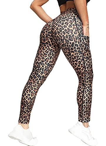 RIOJOY Leggings push up para mujer, con bolsillos, cintura alta, anticelulitis, para deportes, yoga, fitness, A07 - Leopard Look, L