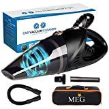 MEG Powerful Hand Car Vacuum Cleaner Cordless Rechargeable Small & Lightweight Strong Suction Portable & 2 Adapter Charging Cables
