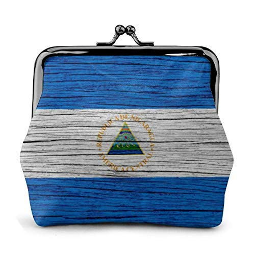 Nicaragua Textura de Madera Bandera de Nicaragua Bolsa Vintage Chica Kiss-Lock Monedero Monedero Monederos Hebilla Monedero de Cuero Llavero Mujer Impreso